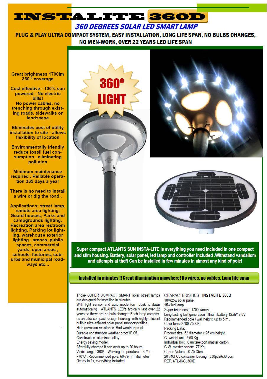 STREET 360 DEGREES ALL in 1-InstaLite 360D LED SOLAR SMART STREET LAMP - 1700 lumens 1