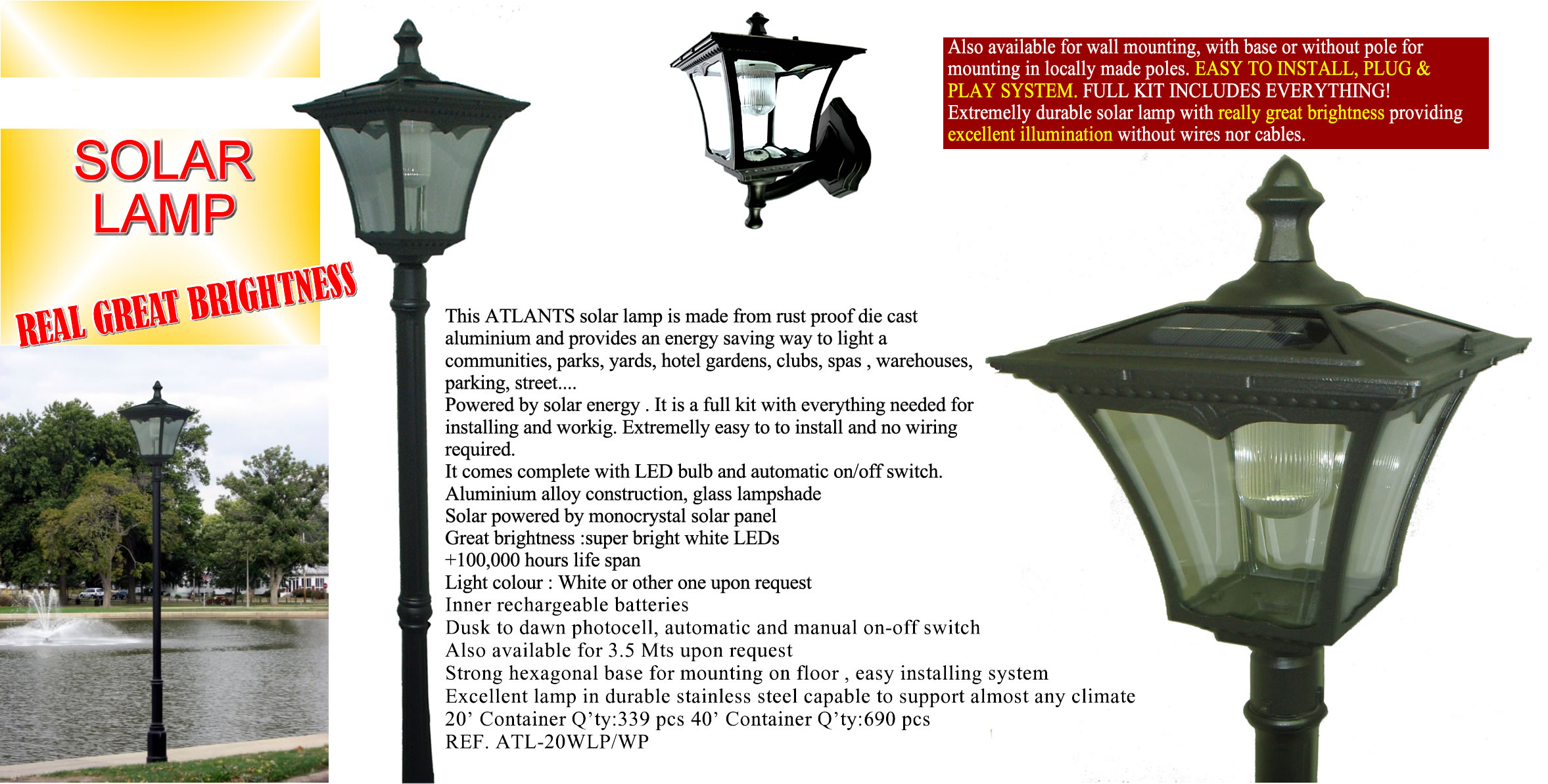 STREET LEDS + POLE-Solar powered SUPER BRIGHT LED lamp-plug-play 1