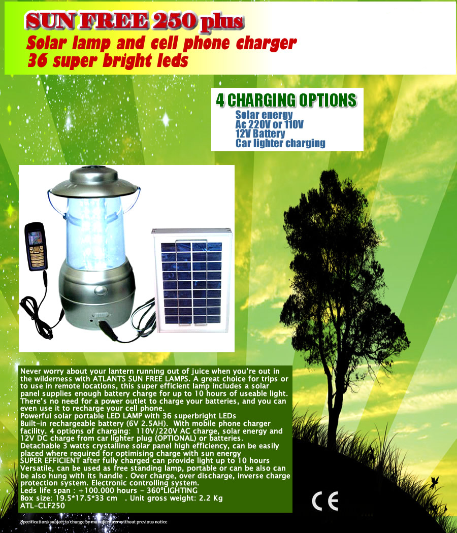 SUN FREE 250 portable & fix solar lantern with cell phone charging facility 1