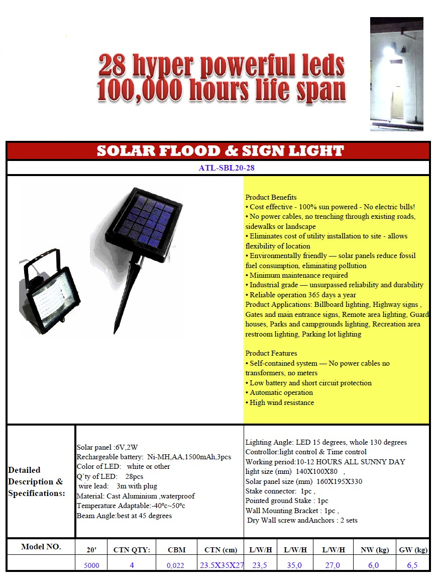 Solar flood-sign and advert lamp 28 leds 1
