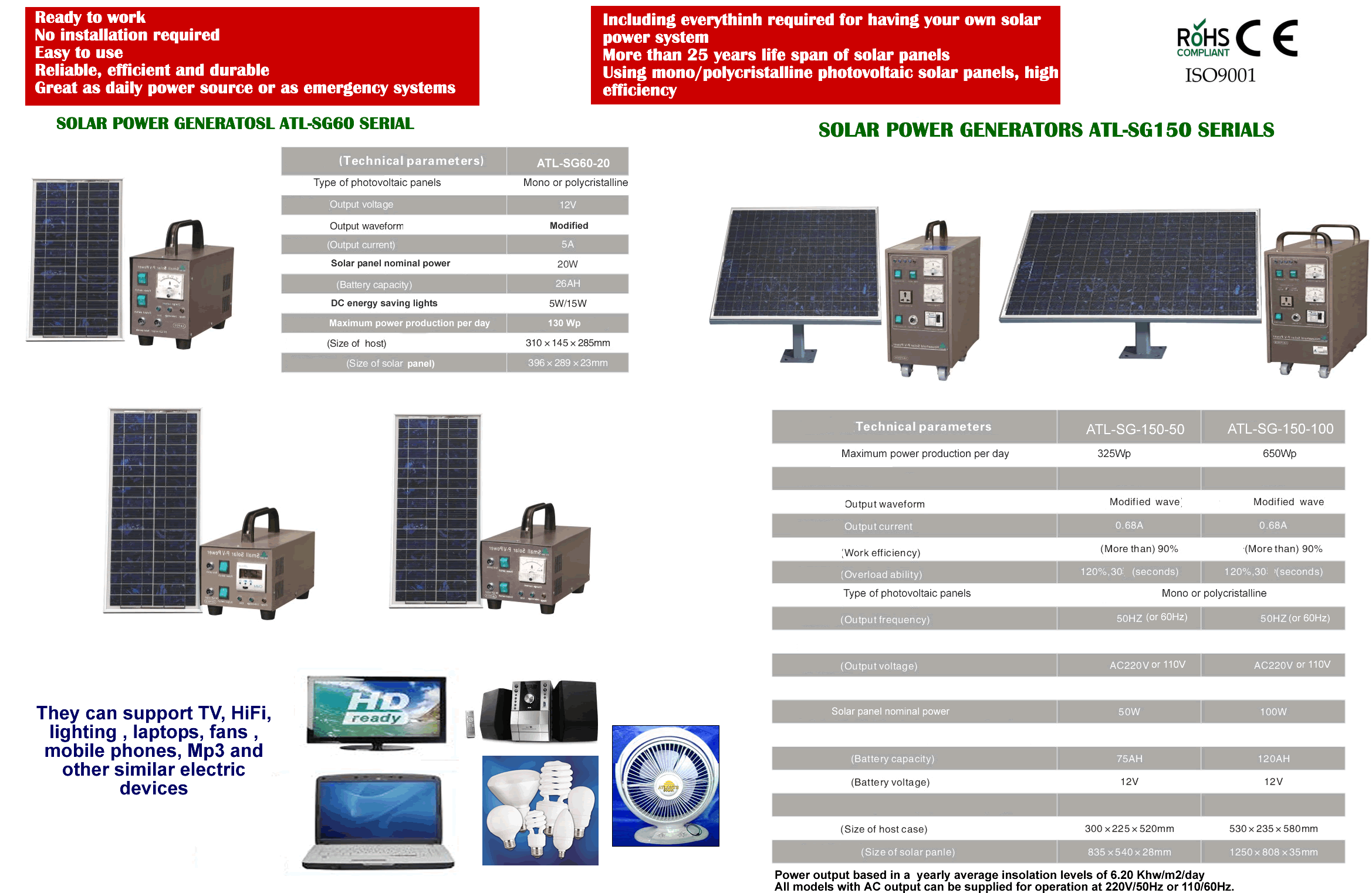 Solar power generators SG60-SG150 serials with max.output 650Wh-day-1