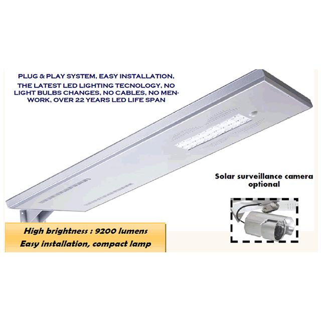 STREET ALL in  1: InstaLite 80000-9200lumens  SOLAR SMART  STREET LAMP Equiv. to 550w classic lamp with/without solar surveillance camera